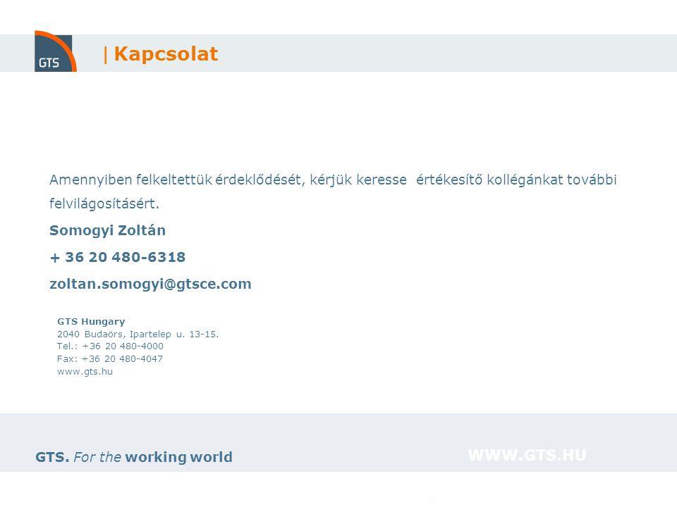 11 GTS. For the working world WWW.GTS.HU GTS Hungary 2040 Budaörs, Ipartelep u. 13-15. Tel.: +36 20 480-4000 Fax: +36 20 480-4047 www.gts.hu | Kapcsol
