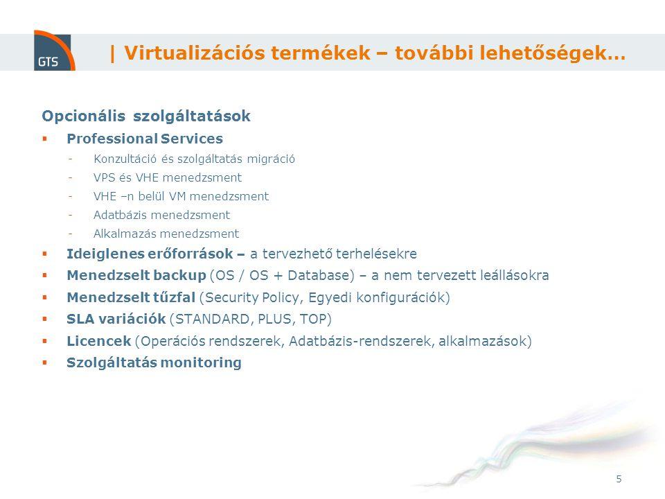 5 Opcionális szolgáltatások  Professional Services -Konzultáció és szolgáltatás migráció -VPS és VHE menedzsment -VHE –n belül VM menedzsment -Adatbá