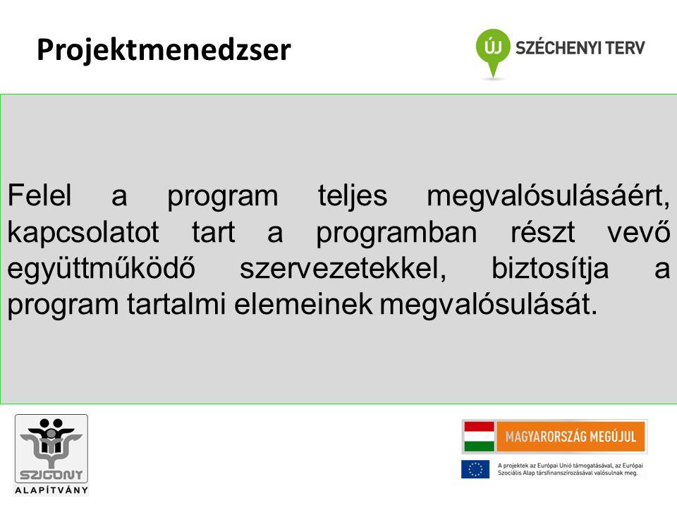 Felel a program teljes megvalósulásáért, kapcsolatot tart a programban részt vevő együttműködő szervezetekkel, biztosítja a program tartalmi elemeinek megvalósulását.