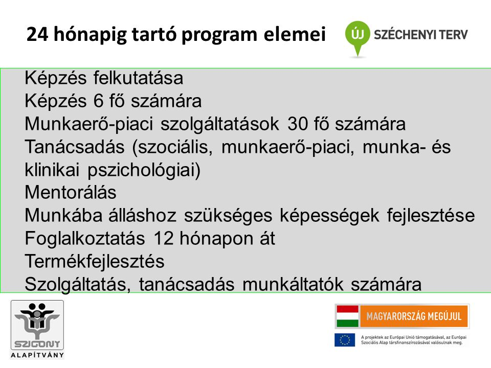 Képzés felkutatása Képzés 6 fő számára Munkaerő-piaci szolgáltatások 30 fő számára Tanácsadás (szociális, munkaerő-piaci, munka- és klinikai pszichológiai) Mentorálás Munkába álláshoz szükséges képességek fejlesztése Foglalkoztatás 12 hónapon át Termékfejlesztés Szolgáltatás, tanácsadás munkáltatók számára 24 hónapig tartó program elemei