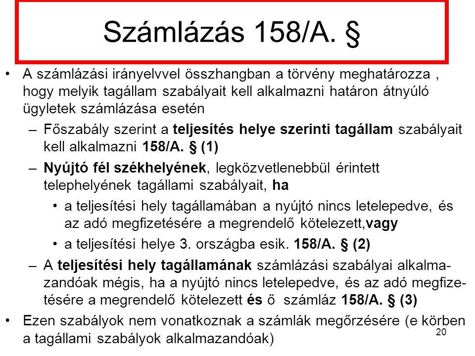 Számlázás 158/A.