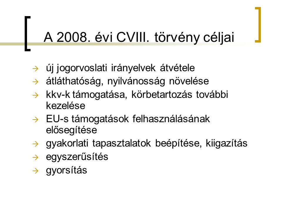 A 2008. évi CVIII. törvény céljai  új jogorvoslati irányelvek átvétele  átláthatóság, nyilvánosság növelése  kkv-k támogatása, körbetartozás tovább