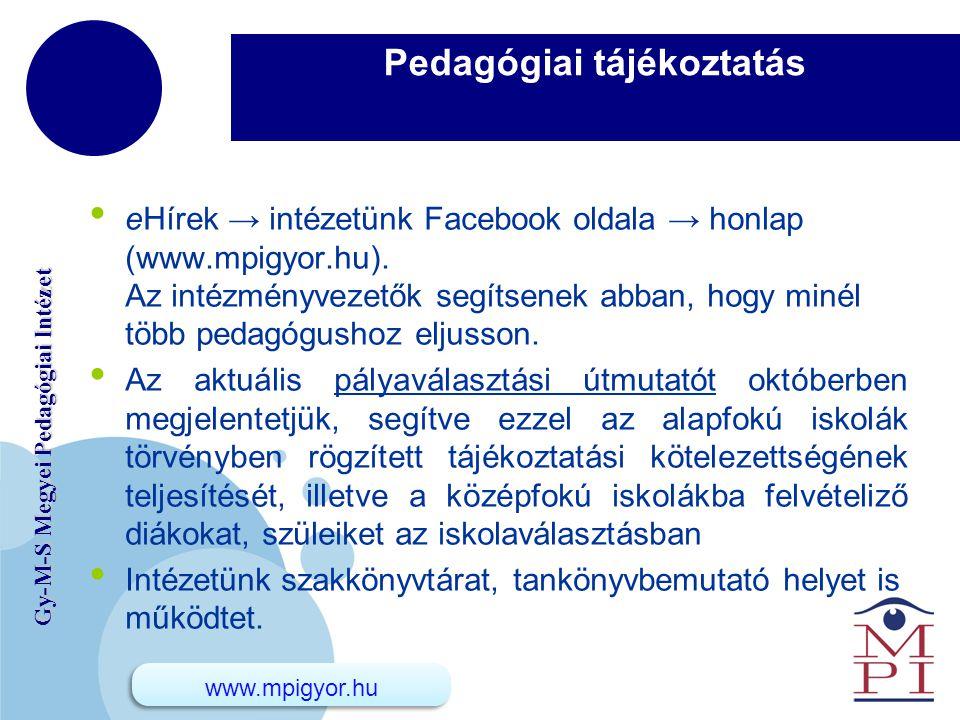 www.company.com Gy-M-S Megyei Pedagógiai Intézet Pedagógiai tájékoztatás eHírek → intézetünk Facebook oldala → honlap (www.mpigyor.hu). Az intézményve