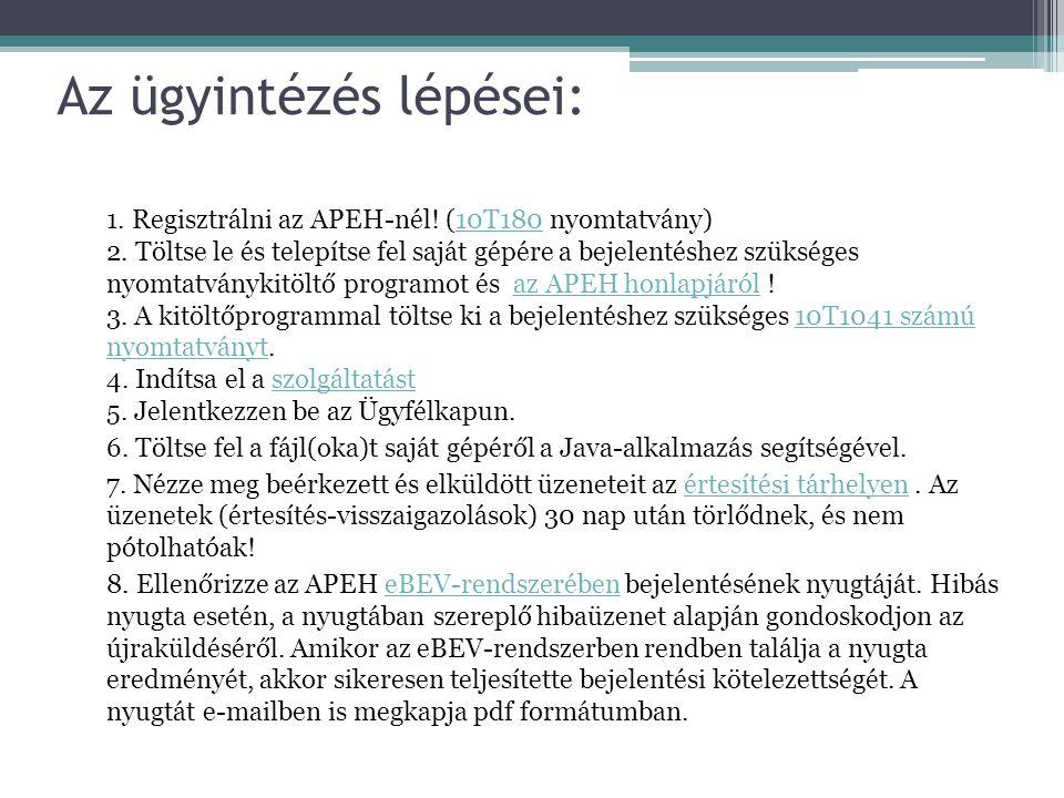Az ügyintézés lépései: 1. Regisztrálni az APEH-nél! (10T180 nyomtatvány) 2. Töltse le és telepítse fel saját gépére a bejelentéshez szükséges nyomtatv