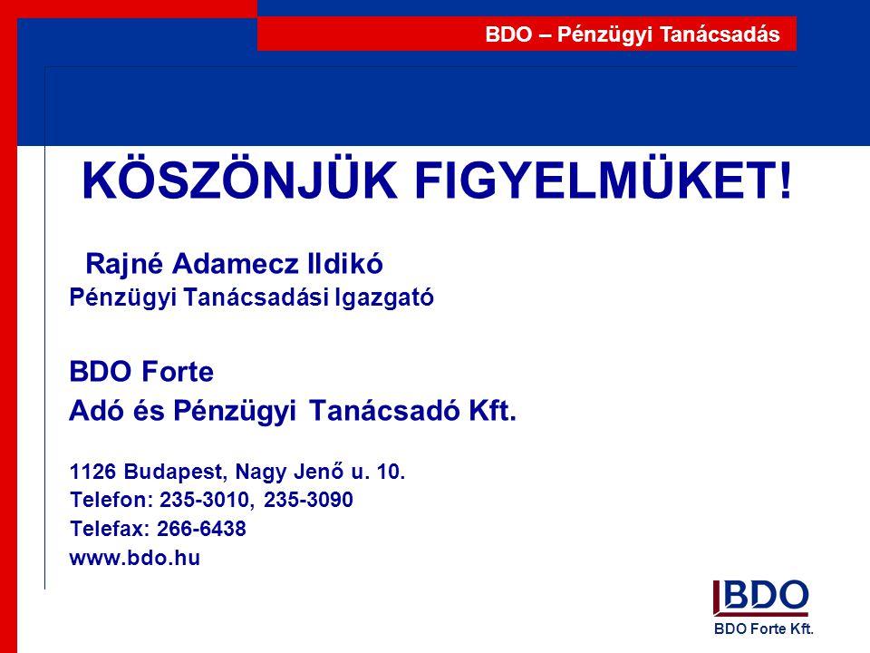 BDO Forte Kft. BDO – Pénzügyi Tanácsadás KÖSZÖNJÜK FIGYELMÜKET! Rajné Adamecz Ildikó Pénzügyi Tanácsadási Igazgató BDO Forte Adó és Pénzügyi Tanácsadó