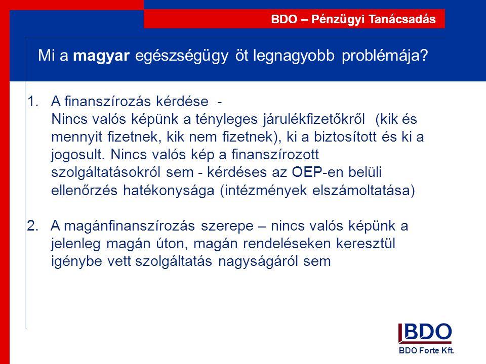 BDO Forte Kft. BDO – Pénzügyi Tanácsadás 1.A finanszírozás kérdése - Nincs valós képünk a tényleges járulékfizetőkről (kik és mennyit fizetnek, kik ne