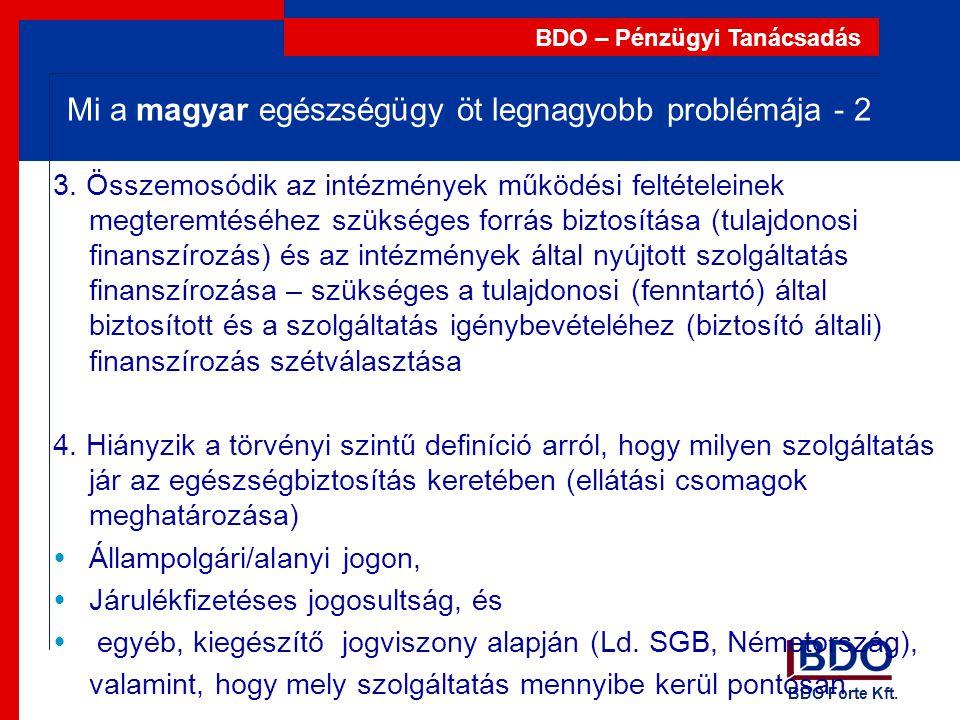 BDO Forte Kft. BDO – Pénzügyi Tanácsadás Mi a magyar egészségügy öt legnagyobb problémája - 2 3. Összemosódik az intézmények működési feltételeinek me