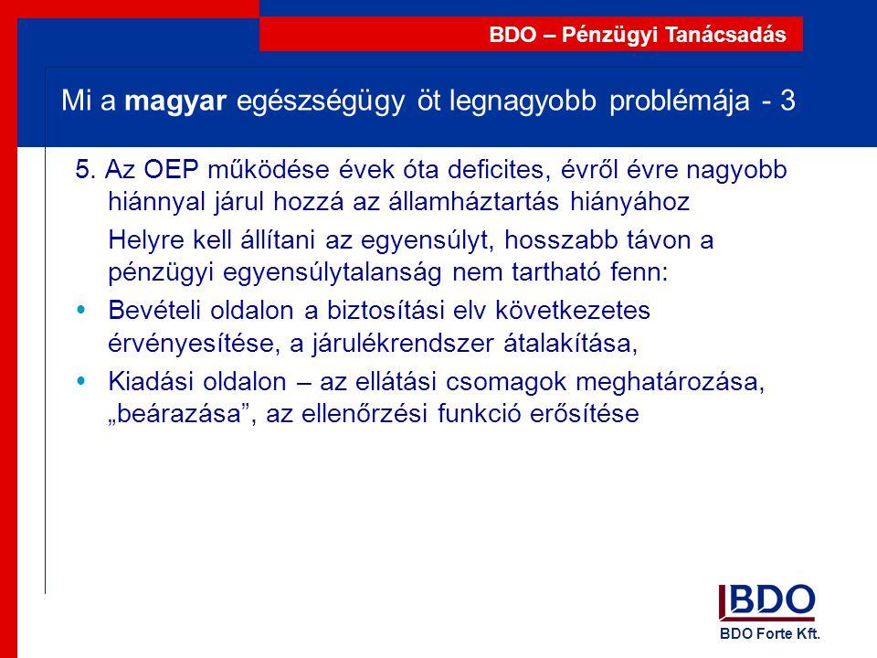 BDO Forte Kft. BDO – Pénzügyi Tanácsadás Mi a magyar egészségügy öt legnagyobb problémája - 3 5. Az OEP működése évek óta deficites, évről évre nagyob