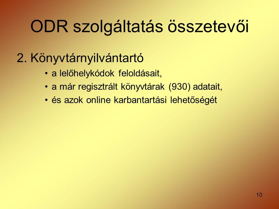 10 ODR szolgáltatás összetevői 2. Könyvtárnyilvántartó a lelőhelykódok feloldásait, a már regisztrált könyvtárak (930) adatait, és azok online karbant