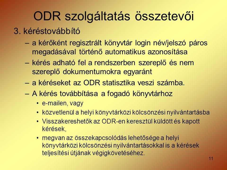 11 ODR szolgáltatás összetevői 3. kéréstovábbító –a kérőként regisztrált könyvtár login név/jelszó páros megadásával történő automatikus azonosítása –
