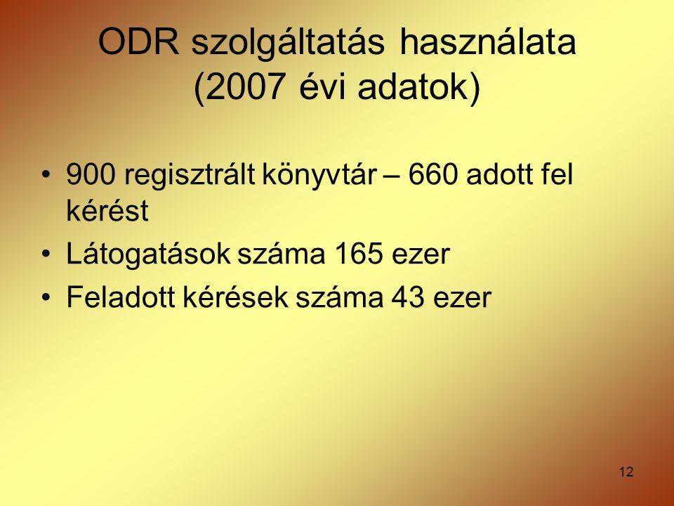 12 ODR szolgáltatás használata (2007 évi adatok) 900 regisztrált könyvtár – 660 adott fel kérést Látogatások száma 165 ezer Feladott kérések száma 43