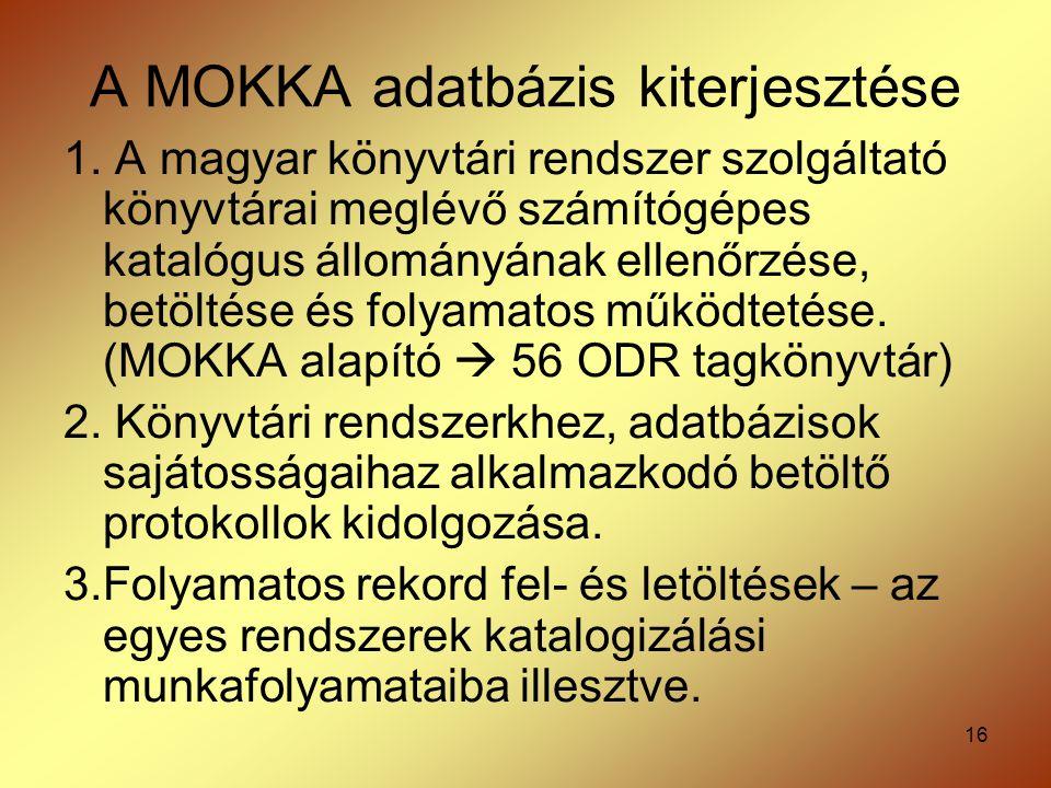 16 A MOKKA adatbázis kiterjesztése 1. A magyar könyvtári rendszer szolgáltató könyvtárai meglévő számítógépes katalógus állományának ellenőrzése, betö
