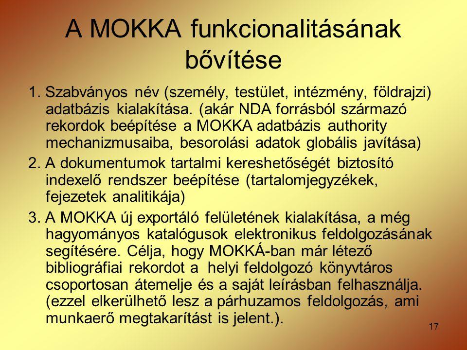 17 A MOKKA funkcionalitásának bővítése 1. Szabványos név (személy, testület, intézmény, földrajzi) adatbázis kialakítása. (akár NDA forrásból származó