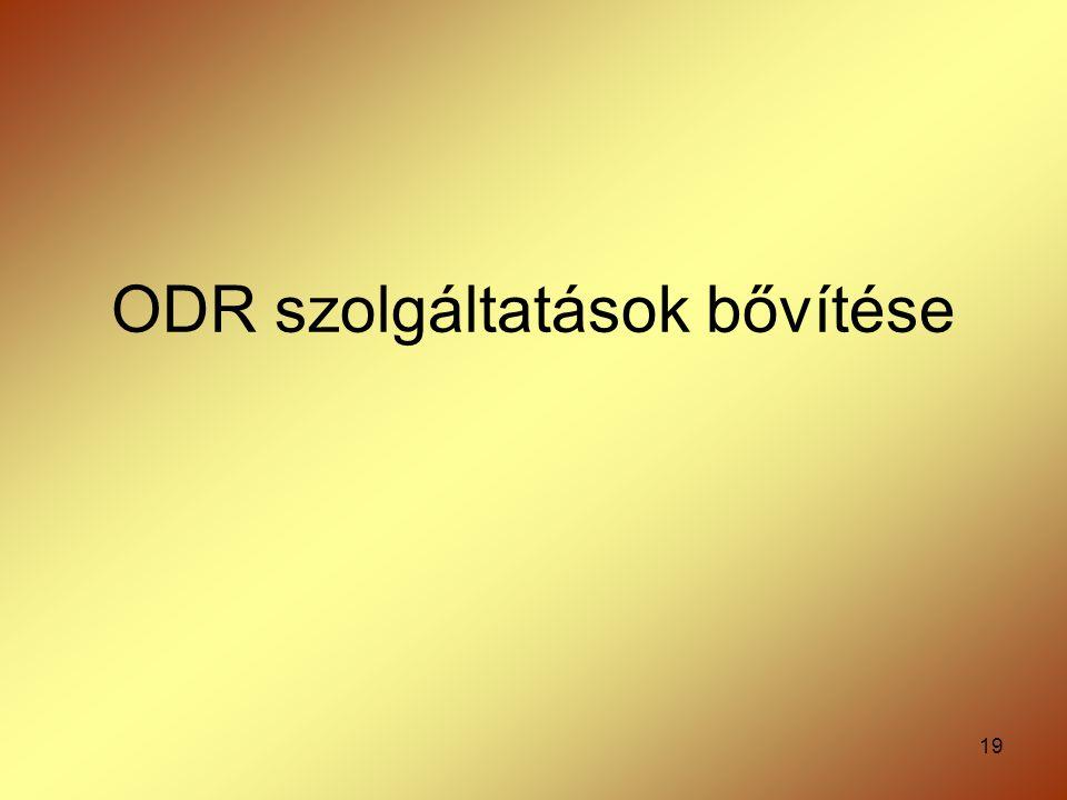 19 ODR szolgáltatások bővítése