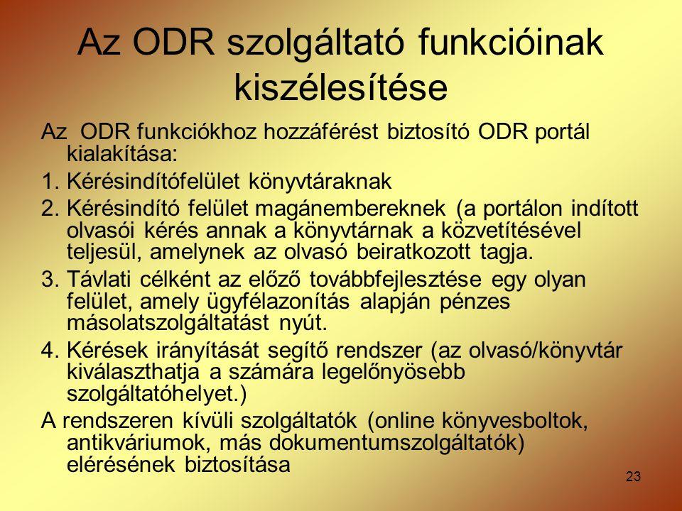 23 Az ODR szolgáltató funkcióinak kiszélesítése Az ODR funkciókhoz hozzáférést biztosító ODR portál kialakítása: 1.Kérésindítófelület könyvtáraknak 2.