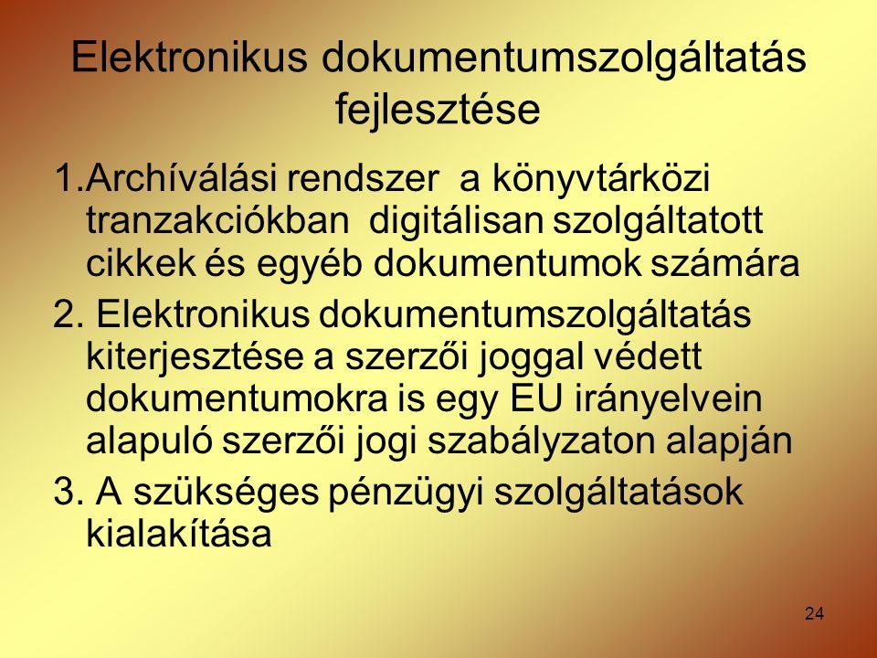 24 Elektronikus dokumentumszolgáltatás fejlesztése 1.Archíválási rendszer a könyvtárközi tranzakciókban digitálisan szolgáltatott cikkek és egyéb doku