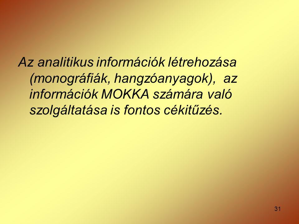 31 Az analitikus információk létrehozása (monográfiák, hangzóanyagok), az információk MOKKA számára való szolgáltatása is fontos cékitűzés.