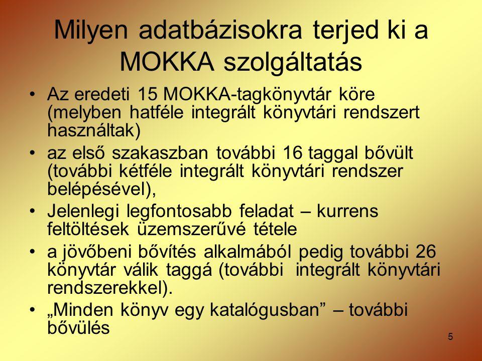 5 Milyen adatbázisokra terjed ki a MOKKA szolgáltatás Az eredeti 15 MOKKA-tagkönyvtár köre (melyben hatféle integrált könyvtári rendszert használtak)
