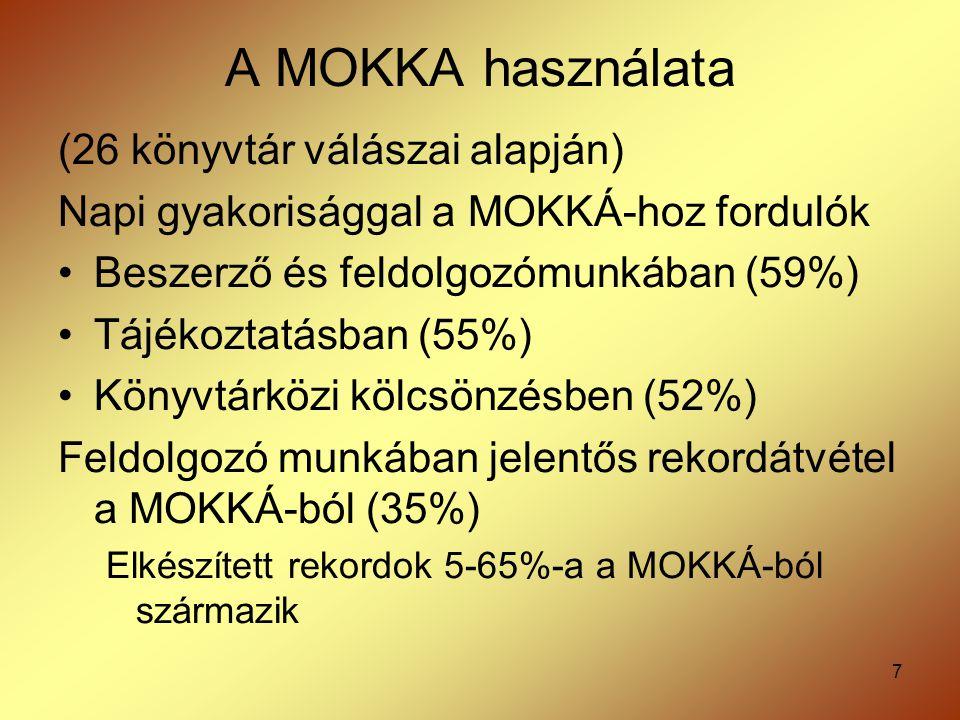 7 A MOKKA használata (26 könyvtár válászai alapján) Napi gyakorisággal a MOKKÁ-hoz fordulók Beszerző és feldolgozómunkában (59%) Tájékoztatásban (55%)