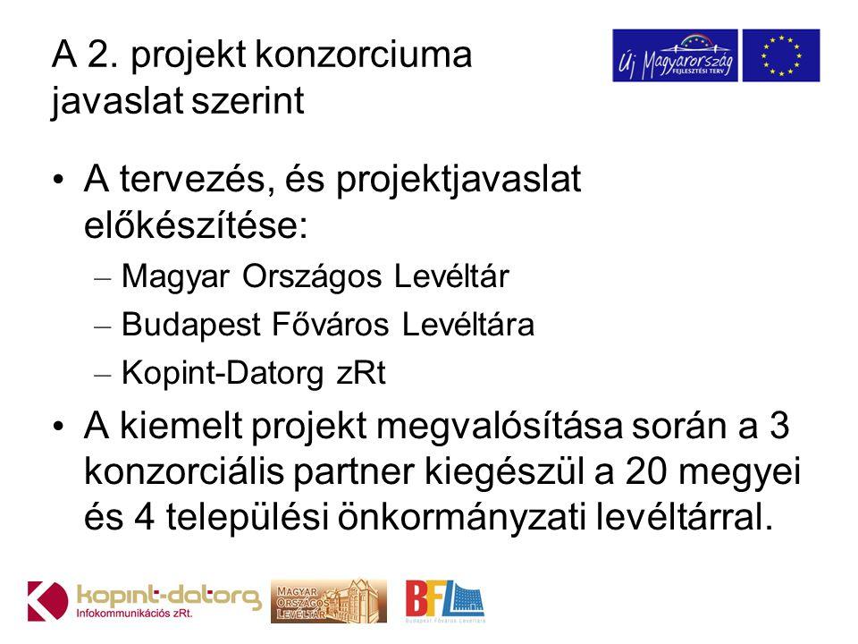 A 2. projekt konzorciuma javaslat szerint A tervezés, és projektjavaslat előkészítése: – Magyar Országos Levéltár – Budapest Főváros Levéltára – Kopin