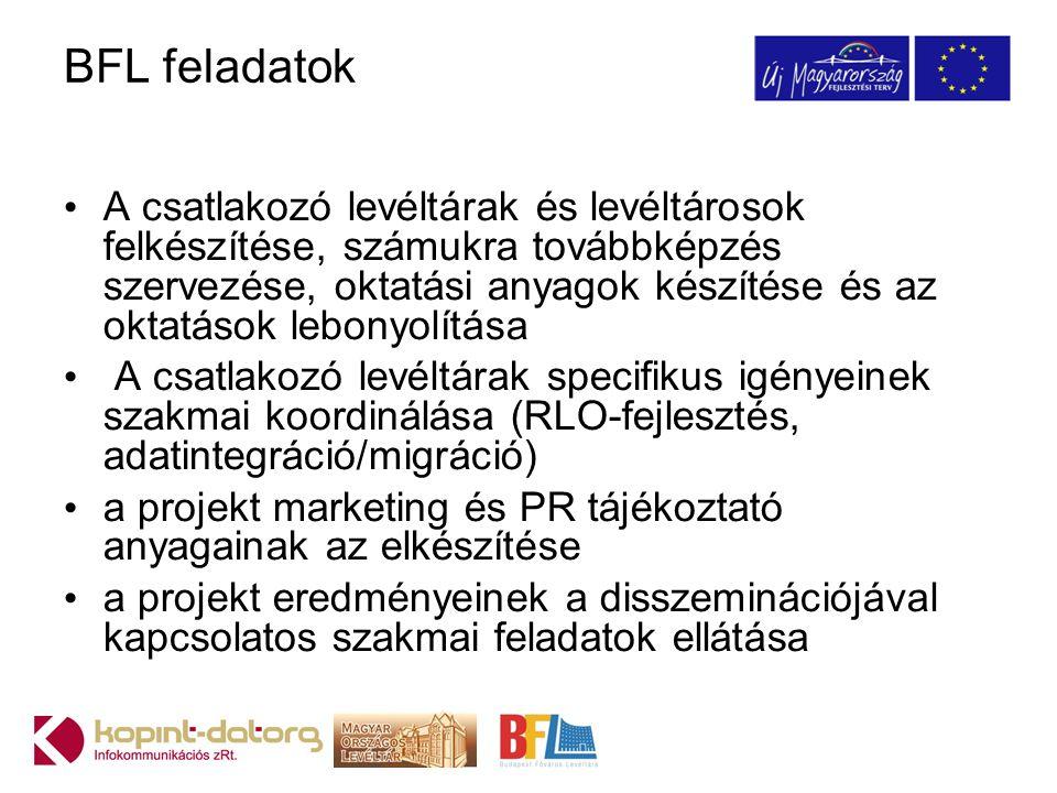 BFL feladatok A csatlakozó levéltárak és levéltárosok felkészítése, számukra továbbképzés szervezése, oktatási anyagok készítése és az oktatások lebonyolítása A csatlakozó levéltárak specifikus igényeinek szakmai koordinálása (RLO-fejlesztés, adatintegráció/migráció) a projekt marketing és PR tájékoztató anyagainak az elkészítése a projekt eredményeinek a disszeminációjával kapcsolatos szakmai feladatok ellátása