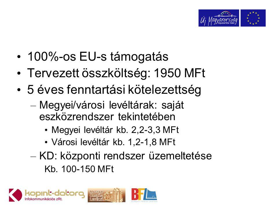 100%-os EU-s támogatás Tervezett összköltség: 1950 MFt 5 éves fenntartási kötelezettség – Megyei/városi levéltárak: saját eszközrendszer tekintetében Megyei levéltár kb.