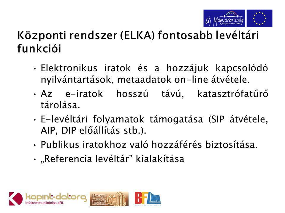 Központi rendszer (ELKA) fontosabb levéltári funkciói Elektronikus iratok és a hozzájuk kapcsolódó nyilvántartások, metaadatok on-line átvétele.