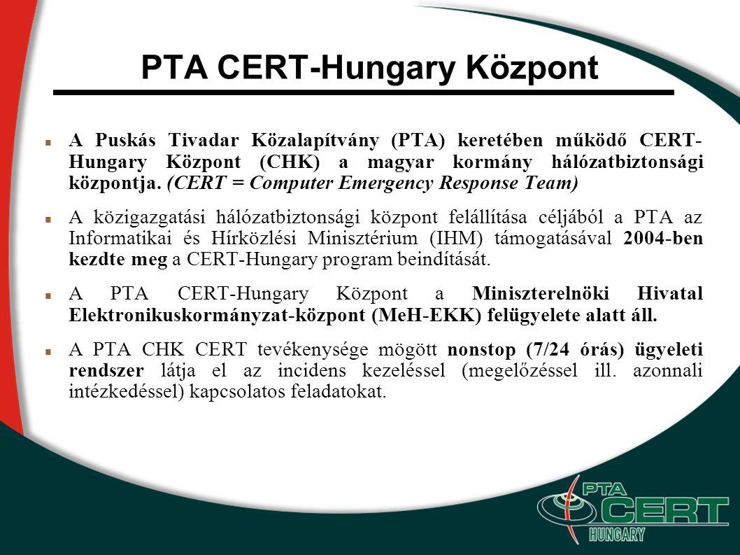 PTA CERT-Hungary Központ A Puskás Tivadar Közalapítvány (PTA) keretében működő CERT- Hungary Központ (CHK) a magyar kormány hálózatbiztonsági központja.