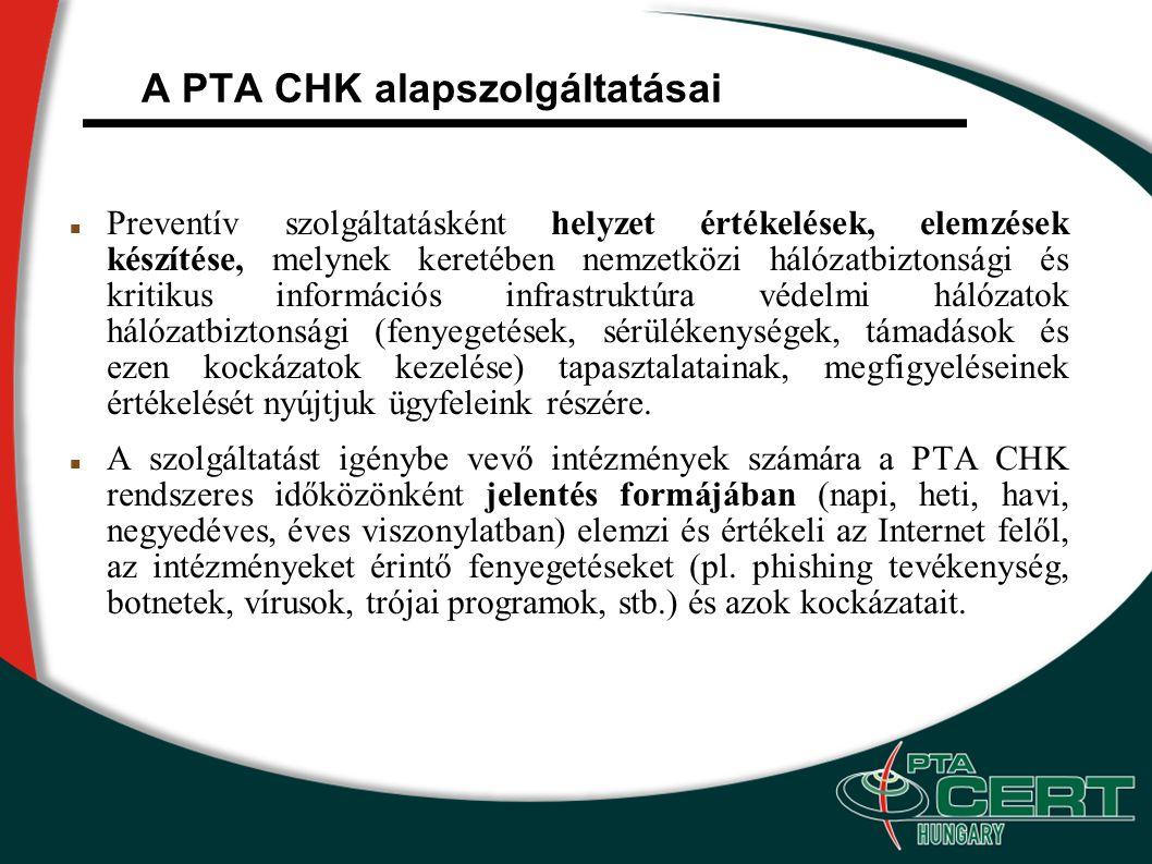 A PTA CHK alapszolgáltatásai Preventív szolgáltatásként helyzet értékelések, elemzések készítése, melynek keretében nemzetközi hálózatbiztonsági és kritikus információs infrastruktúra védelmi hálózatok hálózatbiztonsági (fenyegetések, sérülékenységek, támadások és ezen kockázatok kezelése) tapasztalatainak, megfigyeléseinek értékelését nyújtjuk ügyfeleink részére.