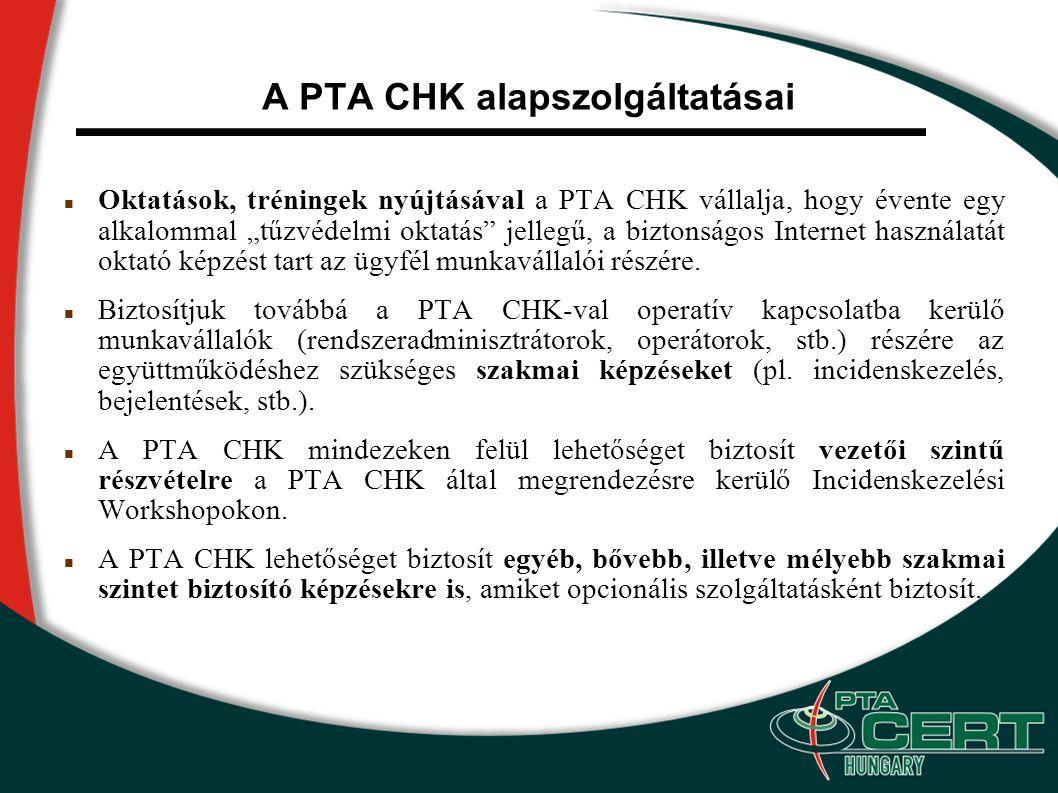 """A PTA CHK alapszolgáltatásai Oktatások, tréningek nyújtásával a PTA CHK vállalja, hogy évente egy alkalommal """"tűzvédelmi oktatás jellegű, a biztonságos Internet használatát oktató képzést tart az ügyfél munkavállalói részére."""