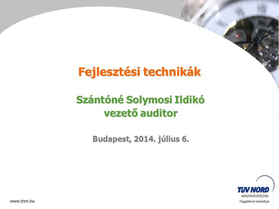 Fejlesztési technikák Szántóné Solymosi Ildikó vezető auditor Budapest, 2014. július 6.2014. július 6.2014. július 6.