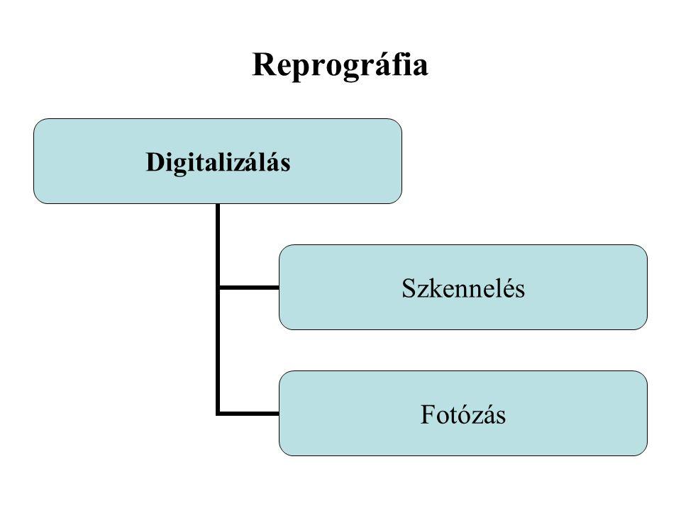 Reprográfia Digitalizálás Szkennelés Fotózás