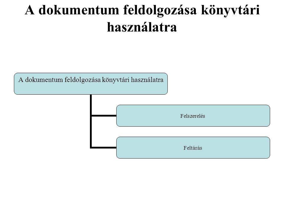 A dokumentum feldolgozása könyvtári használatra Felszerelés Feltárás