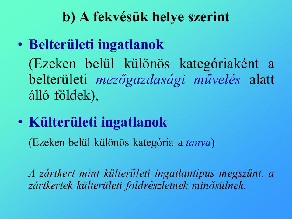 Az a) és b) két tipizálási módszer alapján a főszabályok 1.