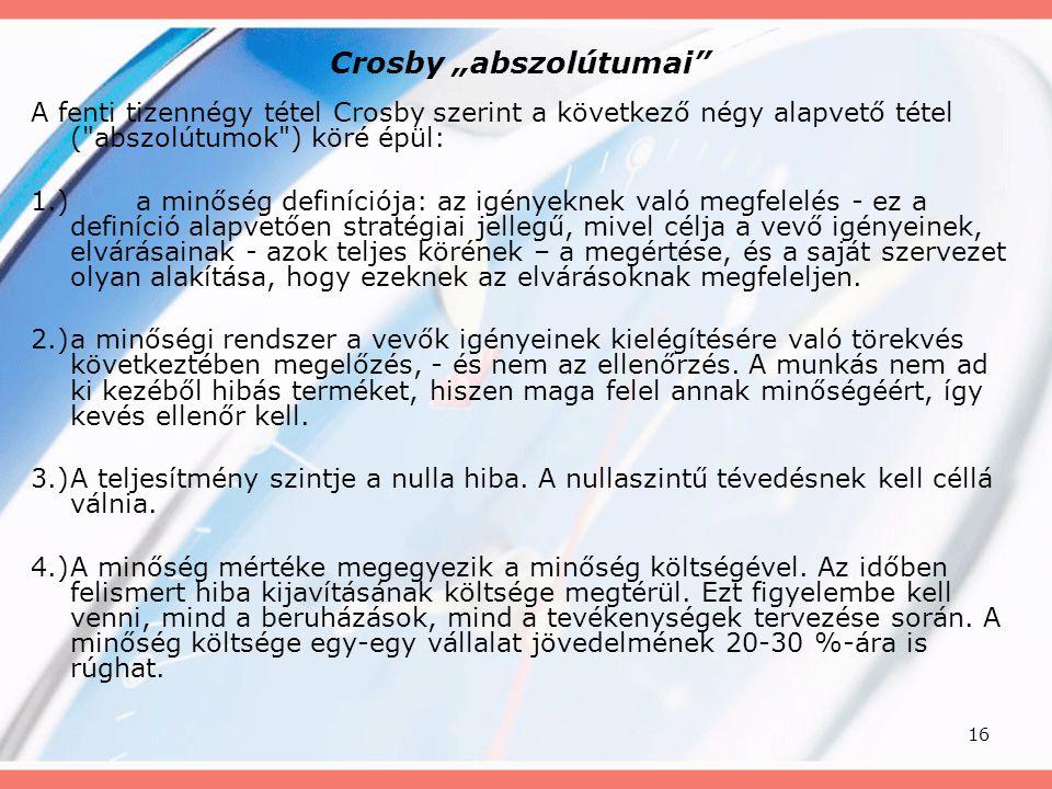 """16 Crosby """"abszolútumai"""" A fenti tizennégy tétel Crosby szerint a következő négy alapvető tétel ("""