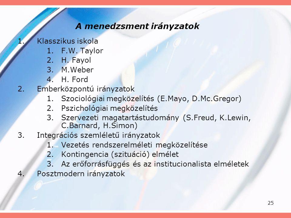 25 A menedzsment irányzatok 1.Klasszikus iskola 1.F.W. Taylor 2.H. Fayol 3.M.Weber 4.H. Ford 2.Emberközpontú irányzatok 1.Szociológiai megközelítés (E