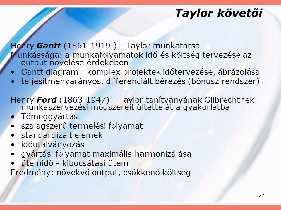 27 Taylor követői Henry Gantt (1861-1919 ) - Taylor munkatársa Munkássága: a munkafolyamatok idő és költség tervezése az output növelése érdekében Gan