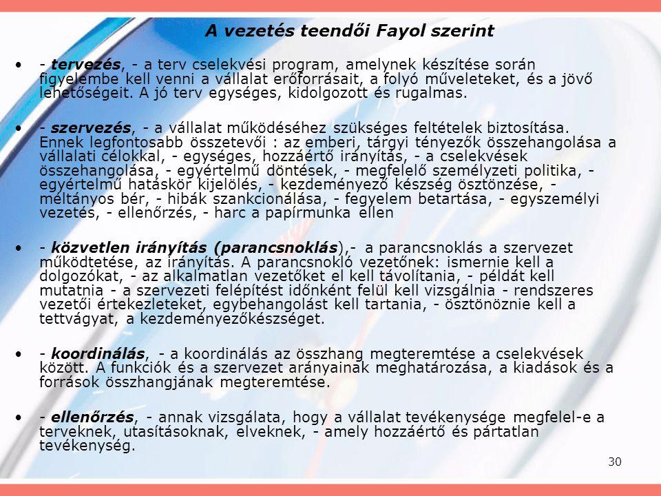 30 A vezetés teendői Fayol szerint - tervezés, - a terv cselekvési program, amelynek készítése során figyelembe kell venni a vállalat erőforrásait, a