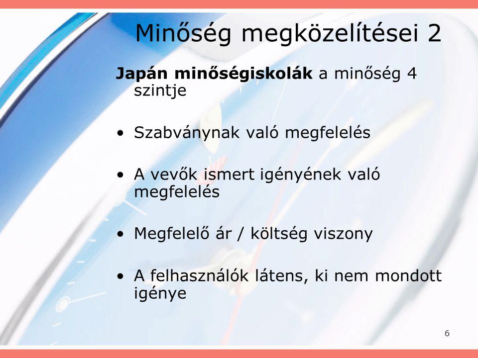 6 Minőség megközelítései 2 Japán minőségiskolák a minőség 4 szintje Szabványnak való megfelelés A vevők ismert igényének való megfelelés Megfelelő ár