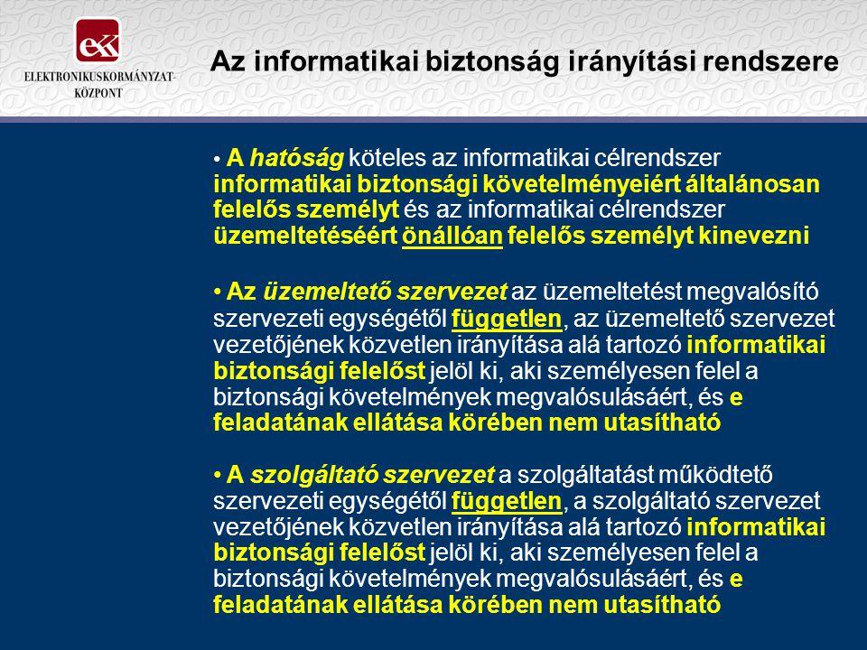 Az informatikai biztonság irányítási rendszere A hatóság köteles az informatikai célrendszer informatikai biztonsági követelményeiért általánosan fele