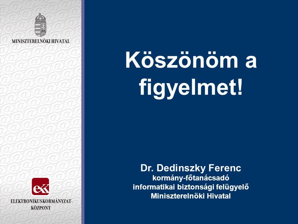 Köszönöm a figyelmet! Dr. Dedinszky Ferenc kormány-főtanácsadó informatikai biztonsági felügyelő Miniszterelnöki Hivatal