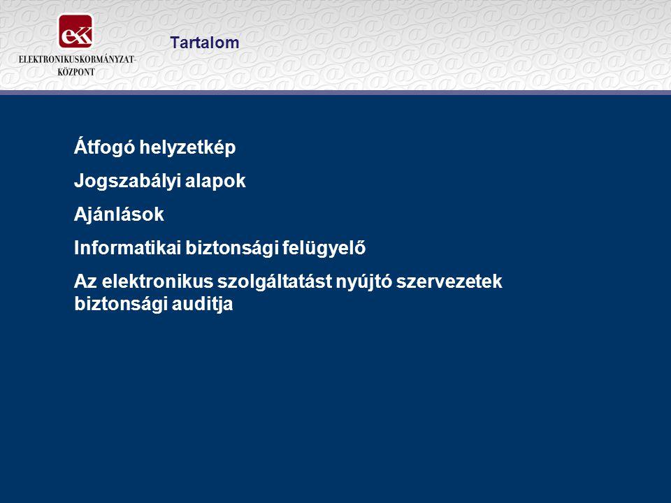 Átfogó helyzetkép Jogszabályi alapok Ajánlások Informatikai biztonsági felügyelő Az elektronikus szolgáltatást nyújtó szervezetek biztonsági auditja T