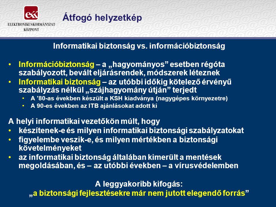 """Átfogó helyzetkép Informatikai biztonság vs. információbiztonság Információbiztonság – a """"hagyományos"""" esetben régóta szabályozott, bevált eljárásrend"""