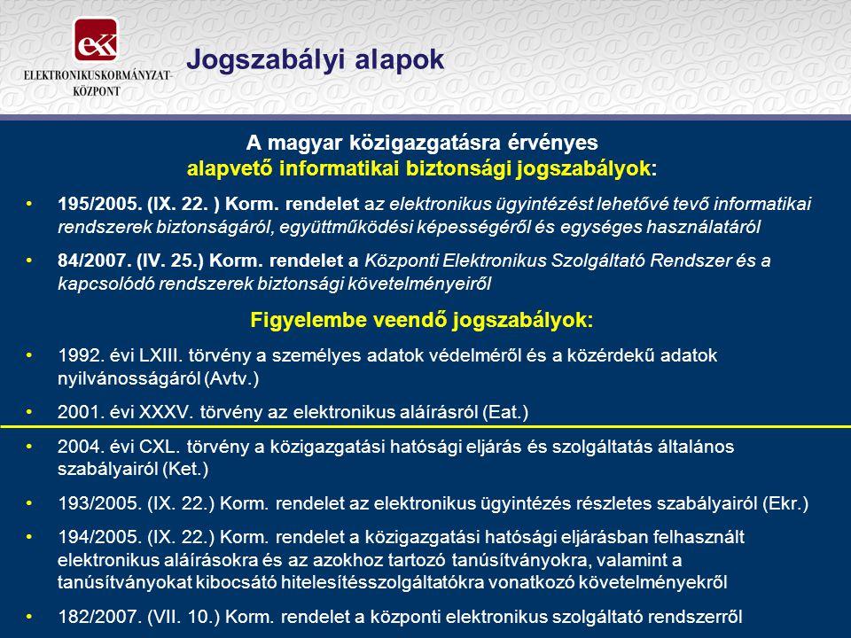 Jogszabályi alapok A magyar közigazgatásra érvényes alapvető informatikai biztonsági jogszabályok: 195/2005. (IX. 22. ) Korm. rendelet az elektronikus