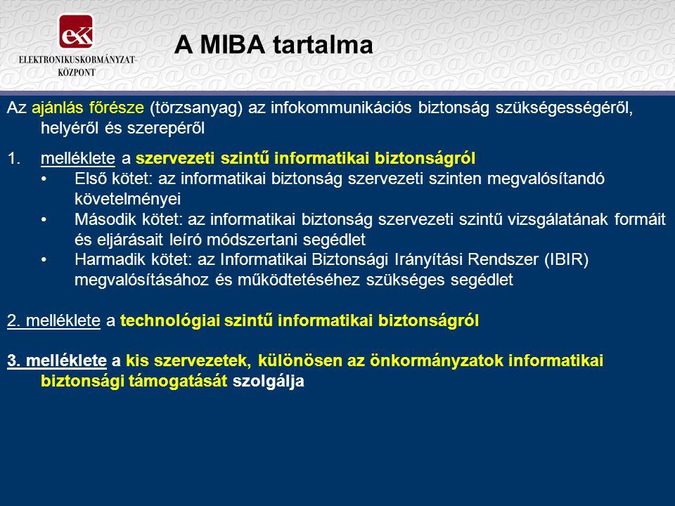 A MIBA tartalma Az ajánlás főrésze (törzsanyag) az infokommunikációs biztonság szükségességéről, helyéről és szerepéről 1.melléklete a szervezeti szin