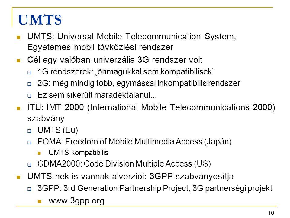 10 UMTS UMTS: Universal Mobile Telecommunication System, Egyetemes mobil távközlési rendszer Cél egy valóban univerzális 3G rendszer volt  1G rendsze