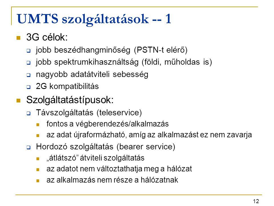 12 UMTS szolgáltatások -- 1 3G célok:  jobb beszédhangminőség (PSTN-t elérő)  jobb spektrumkihasználtság (földi, műholdas is)  nagyobb adatátviteli