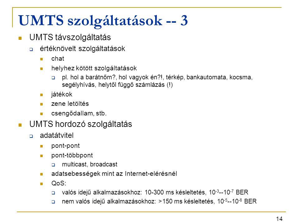 14 UMTS szolgáltatások -- 3 UMTS távszolgáltatás  értéknövelt szolgáltatások chat helyhez kötött szolgáltatások  pl. hol a barátnőm?, hol vagyok én?