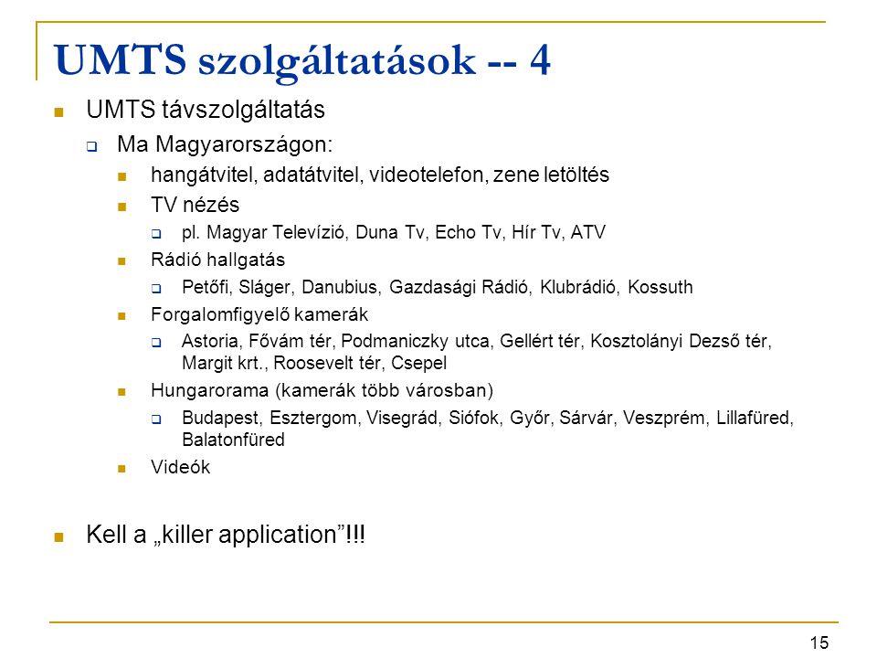 15 UMTS szolgáltatások -- 4 UMTS távszolgáltatás  Ma Magyarországon: hangátvitel, adatátvitel, videotelefon, zene letöltés TV nézés  pl. Magyar Tele