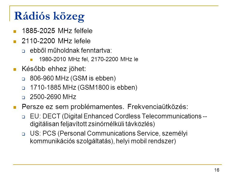 16 Rádiós közeg 1885-2025 MHz felfele 2110-2200 MHz lefele  ebből műholdnak fenntartva: 1980-2010 MHz fel, 2170-2200 MHz le Később ehhez jöhet:  806